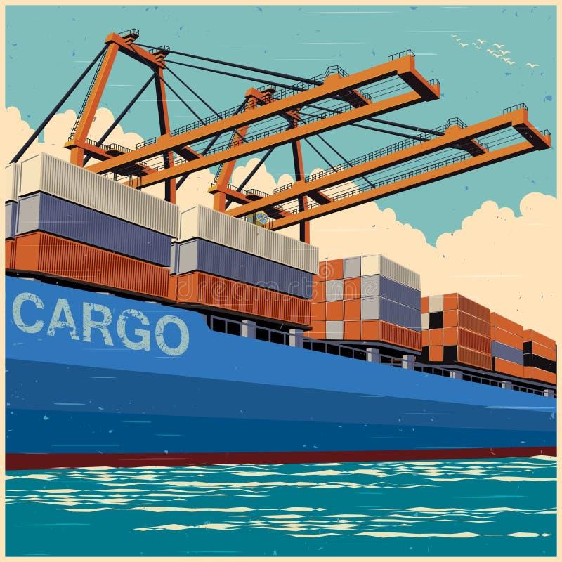 Los envases del cargamento por el puerto cranes en estilo retro del cartel stock de ilustración