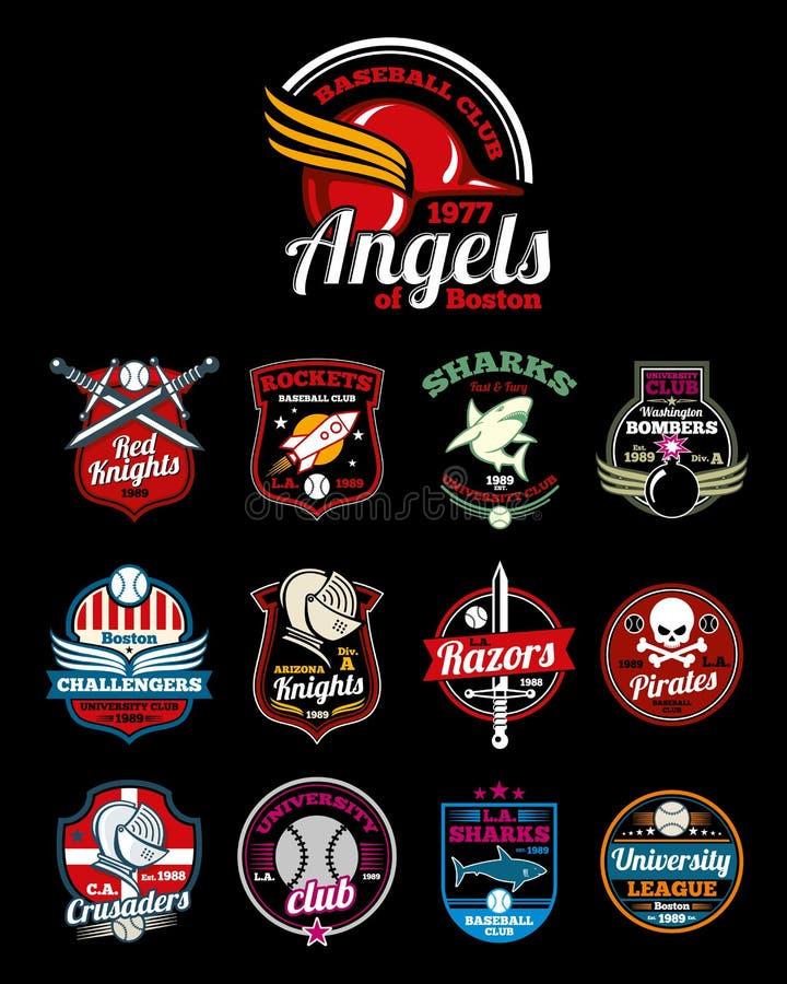 Los equipos de deportes High School secundaria, universidad y universidad vector insignias del color stock de ilustración