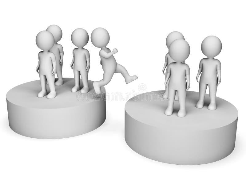 Los equipos del cambio representan diversos elegir y representación de la revisión 3d ilustración del vector
