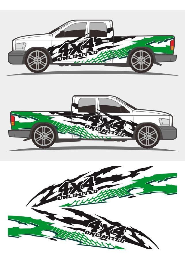 Los equipos tribales verdes frescos de los gráficos de la etiqueta diseñan para los camiones y el coche stock de ilustración