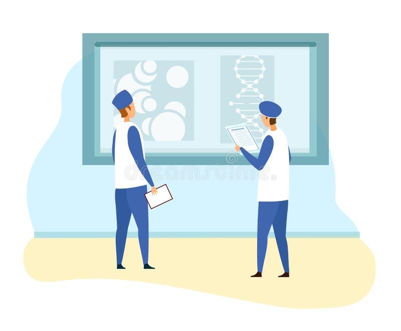 Los especialistas examinan informe genético del experimento libre illustration