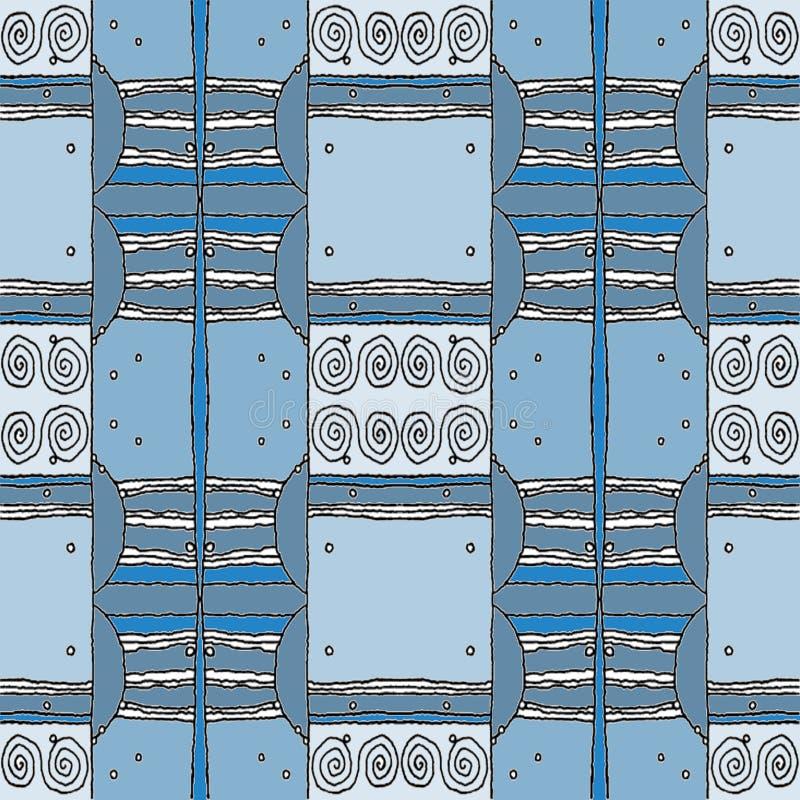 Los espirales inconsútiles regulares modelan gris azul y blancos con los esquemas negros stock de ilustración
