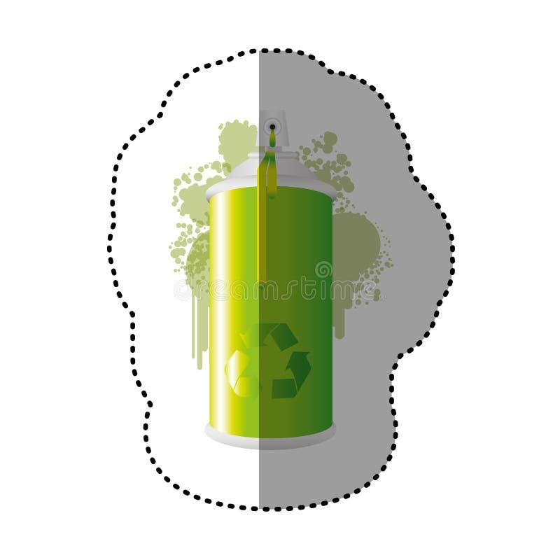 los esprayes de aerosol verdes con reciclan el icono del símbolo ilustración del vector