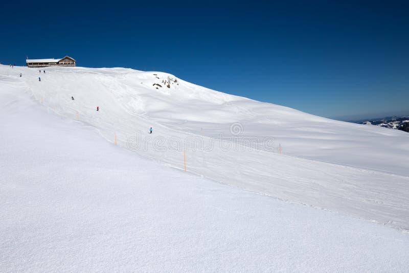 Los esquiadores en la cuesta del Spirstock enarbolan en el esquí de Hoch-Ybrig con referencia a imágenes de archivo libres de regalías