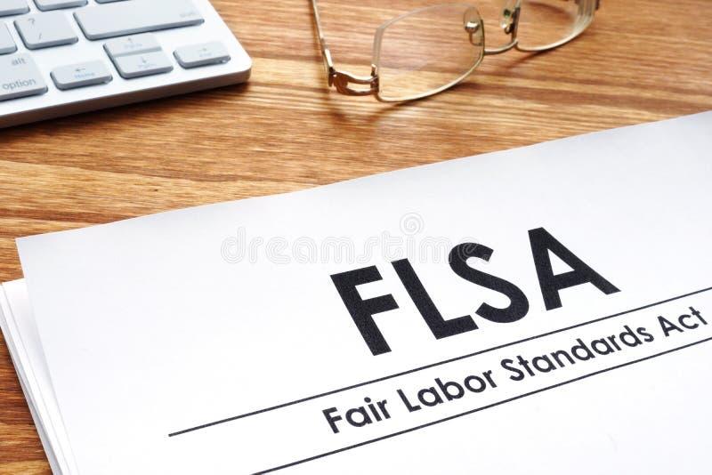 Los estándares de trabajo justos actúan los documentos de FLSA foto de archivo