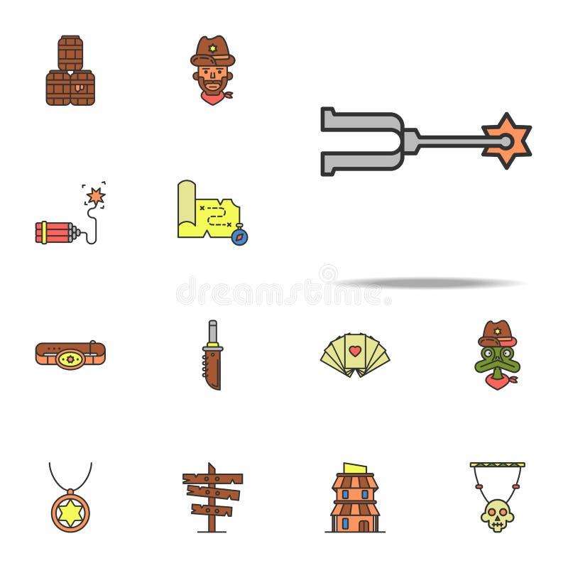 los estímulos para las botas colorearon el icono Sistema universal de los iconos del oeste salvajes para la web y el móvil libre illustration