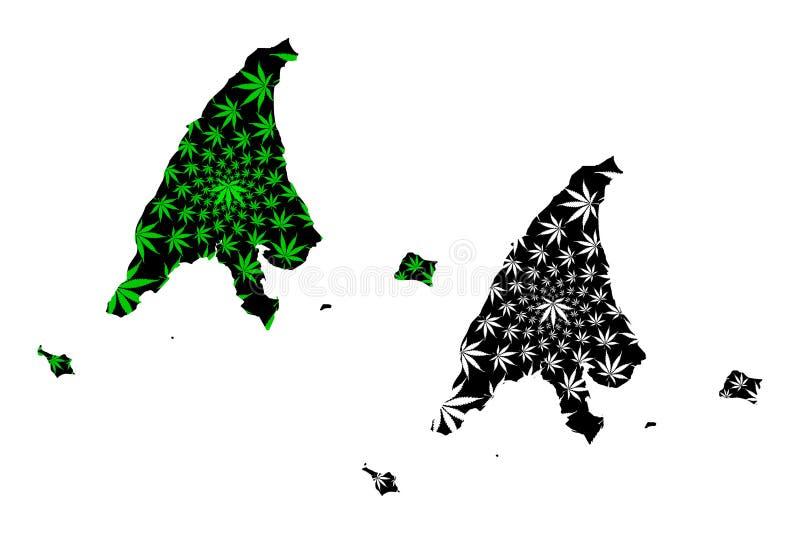 Los estados de Labuan y los territorios federales del mapa de Malasia son verde diseñado de la hoja del cáñamo y territorio negro stock de ilustración