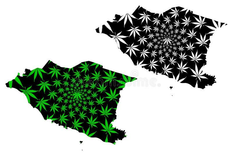 Los estados de Malaca y los territorios federales de Malasia, federación del mapa de Malasia son verde de la hoja del cáñamo y ne stock de ilustración