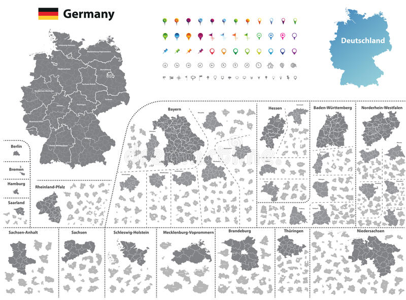 Los estados federales de Alemania trazan con los distritos administrativos y las subdivisiones libre illustration