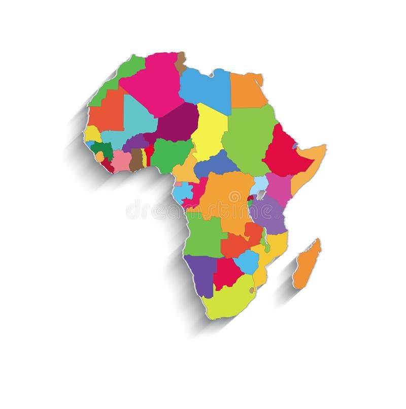 Los estados individuales políticos del papel 3D de mapa de colores de África desconciertan stock de ilustración