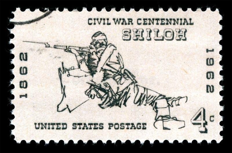 Los Estados Unidos de América cancelaron el sello que mostraba a un fusilero en la batalla de Shiloh foto de archivo
