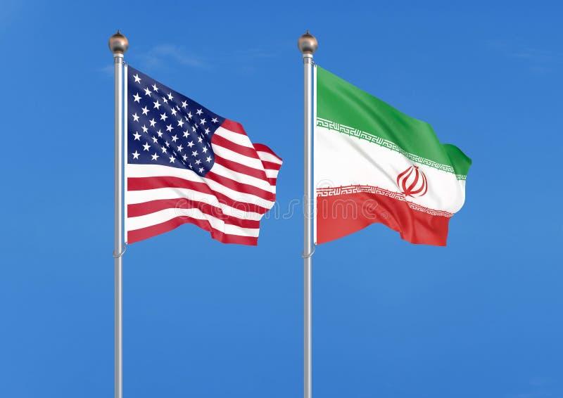 Los Estados Unidos de América contra Irán Banderas sedosas coloreadas gruesas de América y de Irán ejemplo 3D en fondo del cielo  ilustración del vector