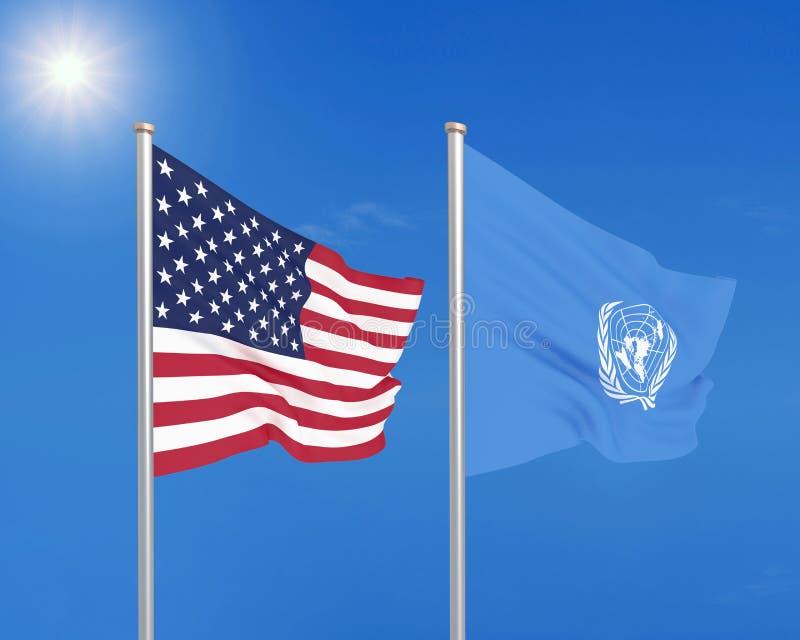 Los Estados Unidos de América contra la organización de Naciones Unidas Banderas sedosas coloreadas gruesas de la organización de ilustración del vector