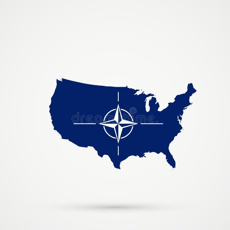 Los Estados Unidos de América los E.E.U.U. trazan en los colores de la bandera de la OTAN de la Organización del Tratado del Atlá stock de ilustración