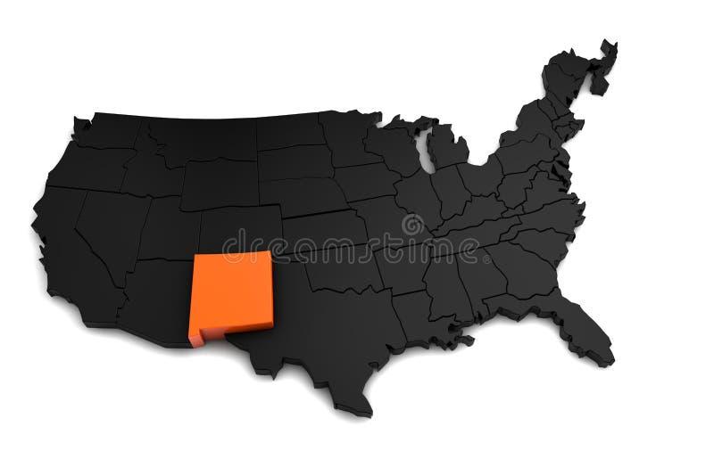 Los Estados Unidos de América, mapa del negro 3d, con el estado de New México destacado en naranja libre illustration