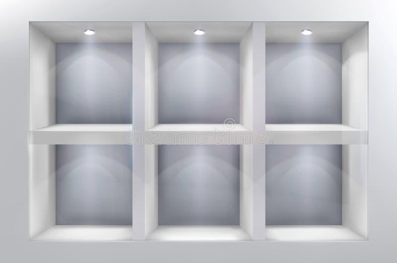 Los estantes en ventana de la tienda Ilustración del vector ilustración del vector