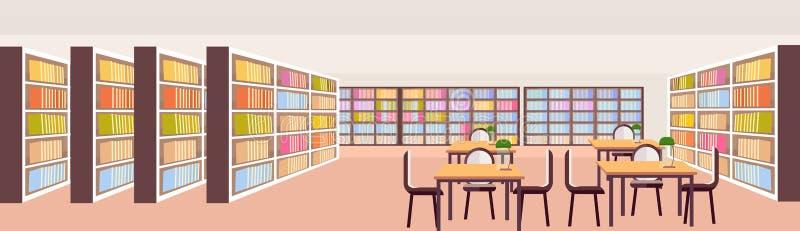 Los estantes interiores de la biblioteca moderna con los libros no vacian ninguna educación del área de estudio de escritorios de stock de ilustración