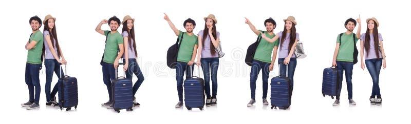 Los estudiantes alistan para el viaje en blanco imagen de archivo