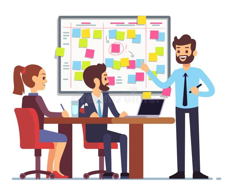 Los estudiantes combinan el trabajo sobre horario de proceso de las tareas en sitio del entrenamiento con la junta de planificaci libre illustration