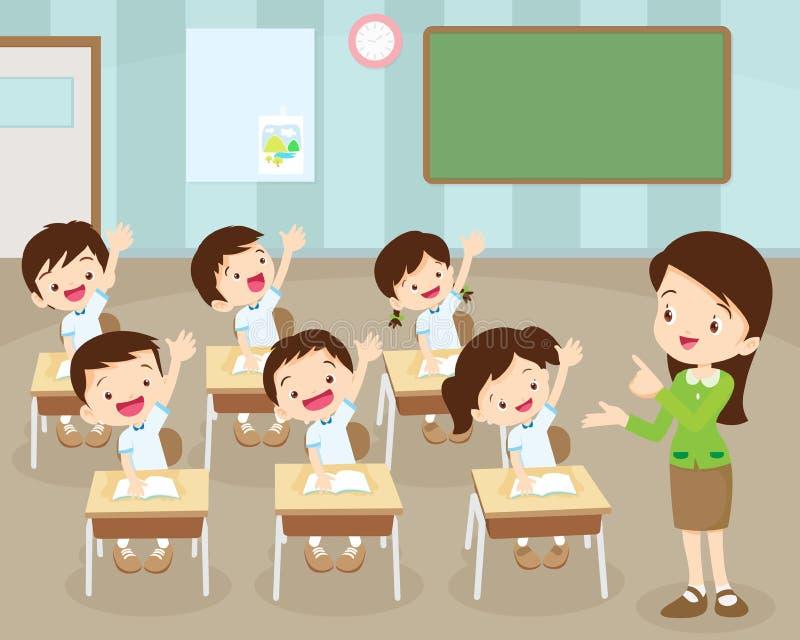 Los estudiantes dan para arriba en sala de clase stock de ilustración