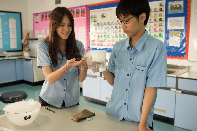Los estudiantes en ciencia clasifican, estudiando la reacción del hielo seco fotos de archivo libres de regalías