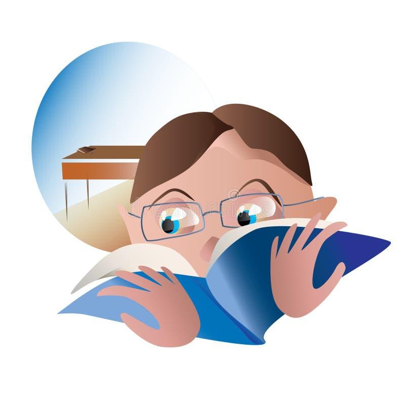 Los estudiantes leyeron un libro en el fondo de la clase ilustración del vector