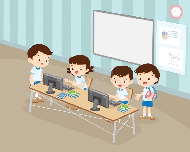Los estudiantes muchacho y muchacha están trabajando con el ordenador en sala de clase ilustración del vector