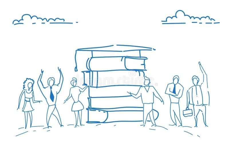 Los estudiantes que colocaban la pila de libro graduaron la mano acertada del garabato del bosquejo del conocimiento del estudio  stock de ilustración