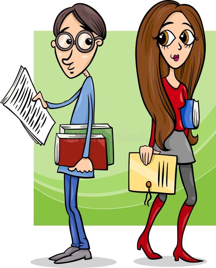 Los estudiantes se juntan en historieta del amor stock de ilustración