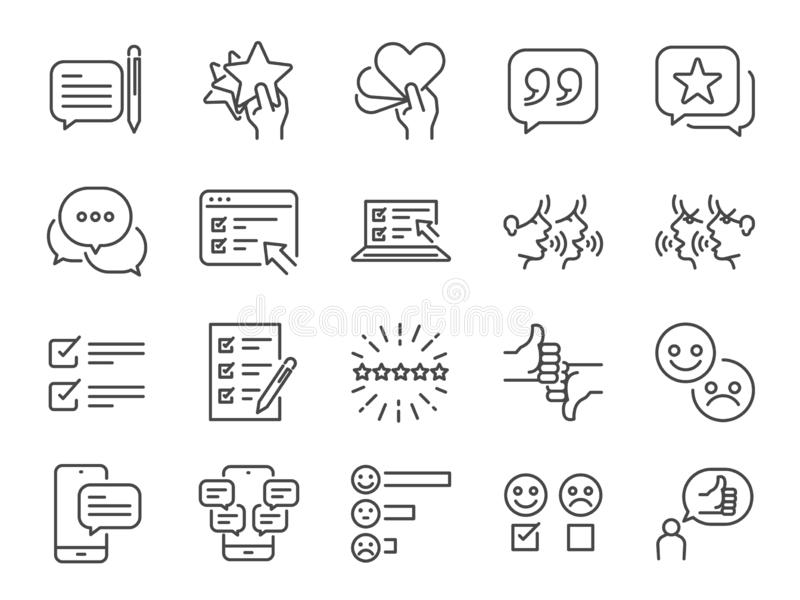 Los estudios alinean el sistema del icono Iconos incluidos como cuenta del estudio, reacción, certificado, comentario, encuesta y ilustración del vector
