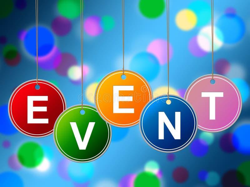Los eventos del evento indican experiencias y ceremonias de las funciones stock de ilustración