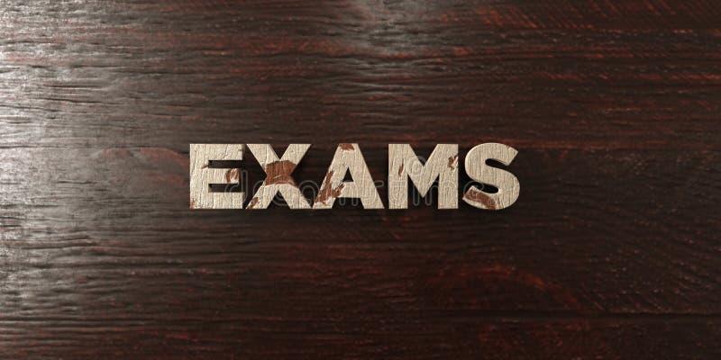 Los exámenes - título de madera sucio en arce - 3D rindieron imagen común libre de los derechos stock de ilustración