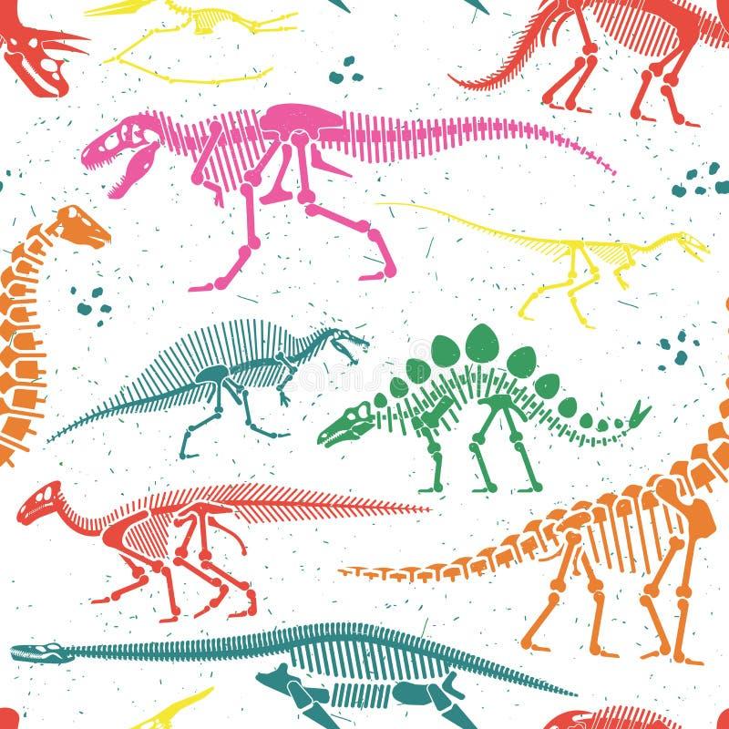 Los fósiles de dinosaurio, huevos, deshuesan los esqueletos ilustración del vector