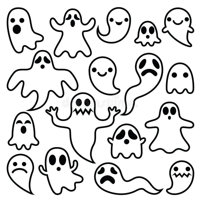 Los fantasmas asustadizos diseñan, los iconos de los caracteres de Halloween fijados libre illustration