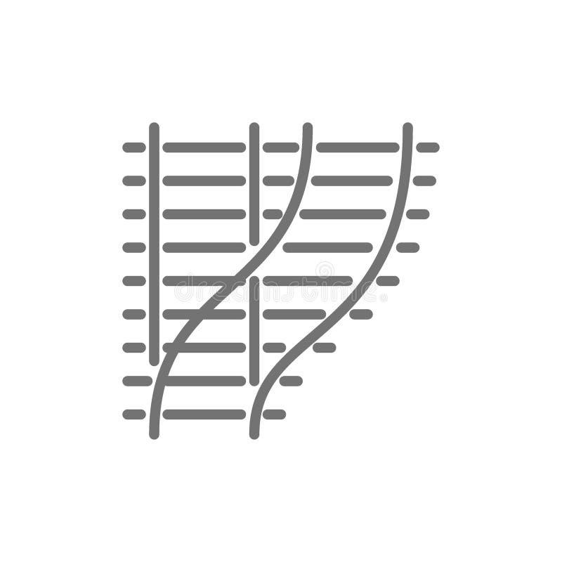 Los ferrocarriles curvados, vías de ferrocarril, caminos del tren alinean el icono ilustración del vector