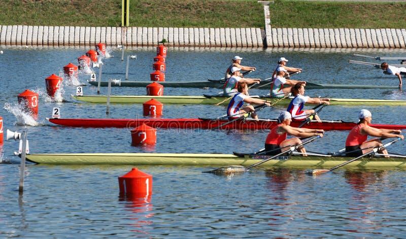 Los finales en el rowing imagen de archivo libre de regalías