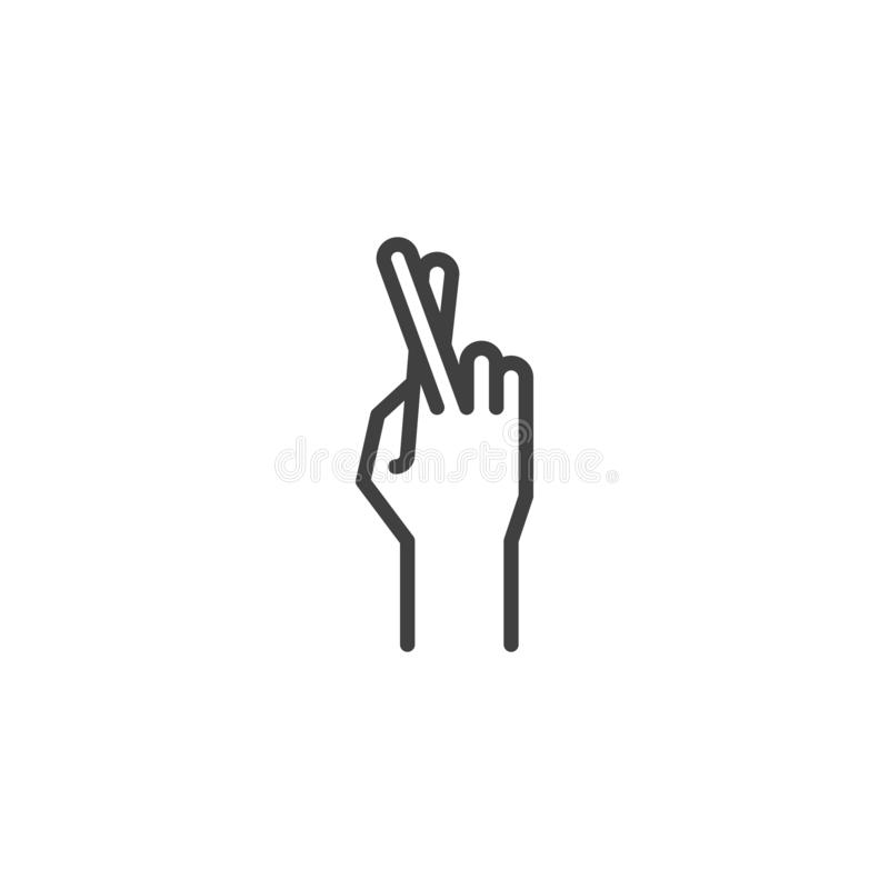 Los fingeres cruzaron, línea icono del gesto de mano libre illustration