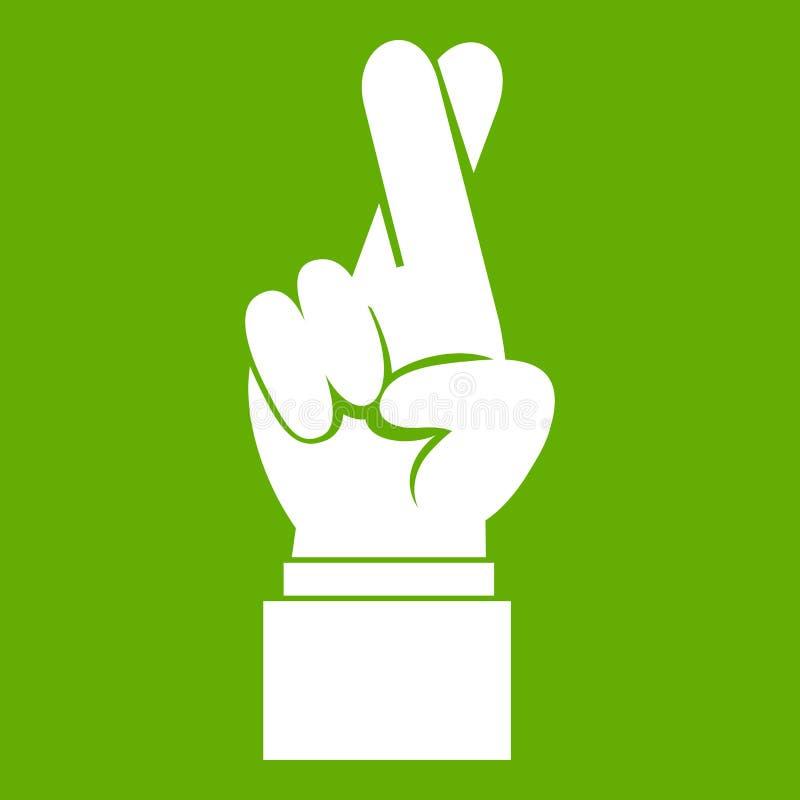 Los fingeres cruzaron verde del icono ilustración del vector