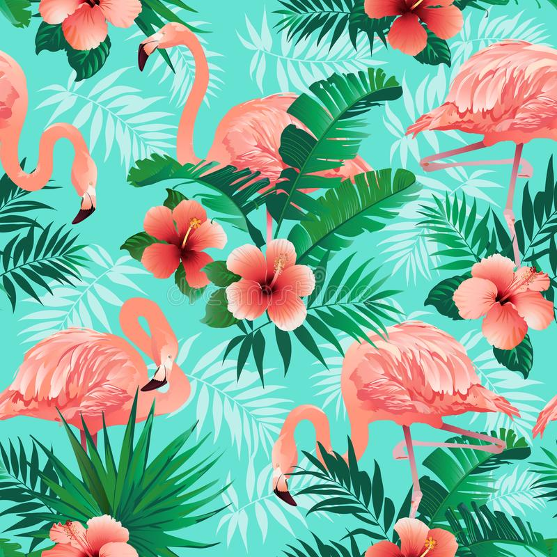 Los flamencos rosados, pájaros exóticos, hojas de palma tropicales, árboles, selva salen del fondo inconsútil del estampado de fl stock de ilustración