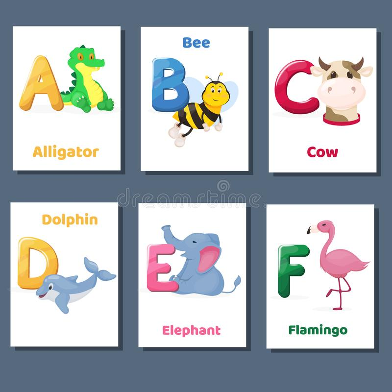 Los flashcards imprimibles del alfabeto vector la colección con la letra A B C D E F Animales del parque zoológico para la enseña libre illustration