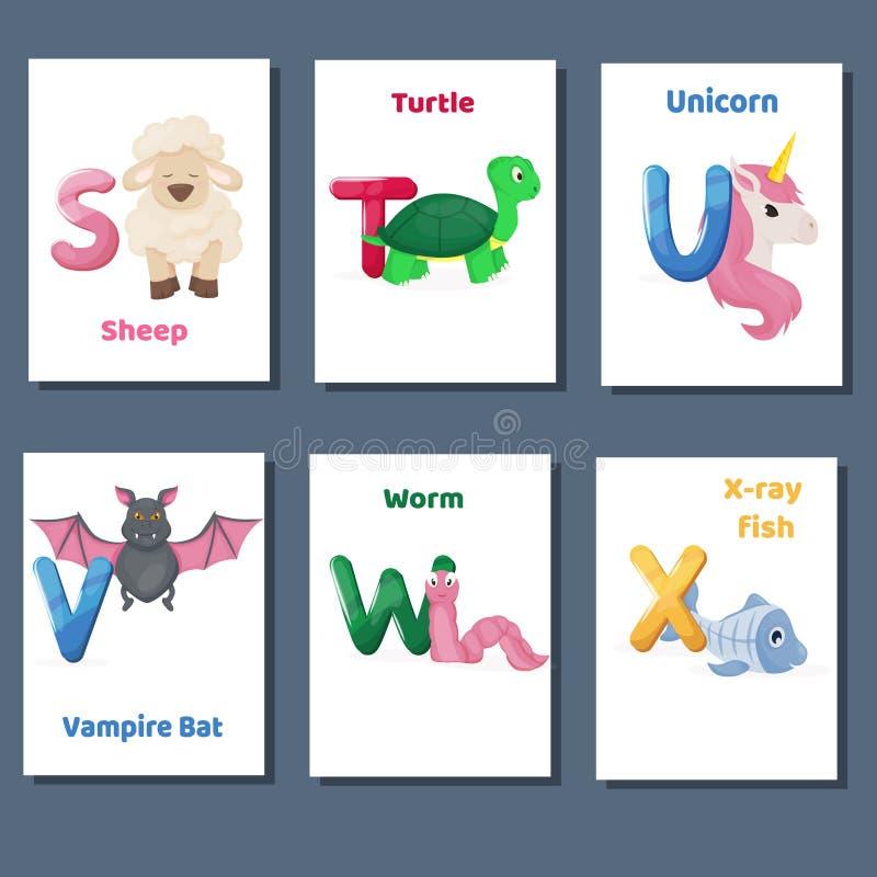 Los flashcards imprimibles del alfabeto vector la colección con la letra S T U V W X Animales del parque zoológico para la enseña stock de ilustración