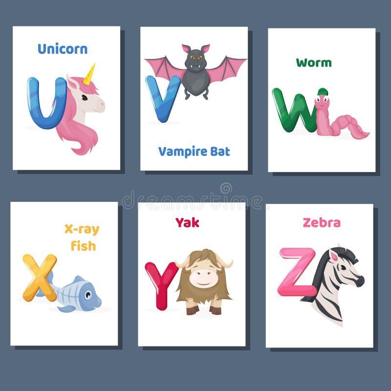 Los flashcards imprimibles del alfabeto vector la colección con la letra U V W X Y Z Animales del parque zoológico para la enseña stock de ilustración