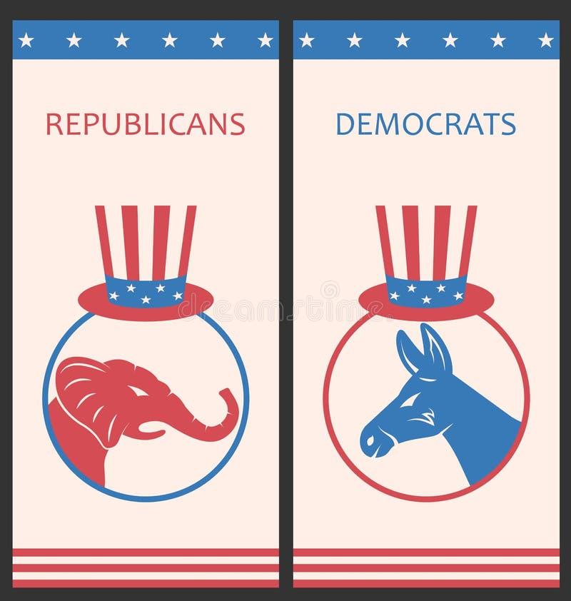 Los folletos para hacen publicidad de los partidos políticos de Estados Unidos ilustración del vector