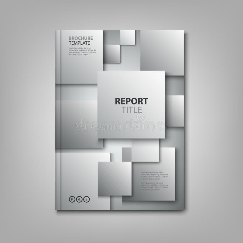 Los folletos reservan o aviador con la plantilla gris abstracta de los cuadrados stock de ilustración