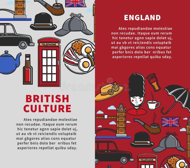 Los folletos verticales del viaje de la cultura británica con la muestra mandan un SMS libre illustration