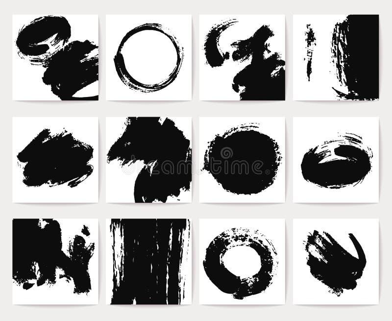 Los fondos abstractos del vector de la suciedad con grunge cepillan movimientos y textura apenada stock de ilustración