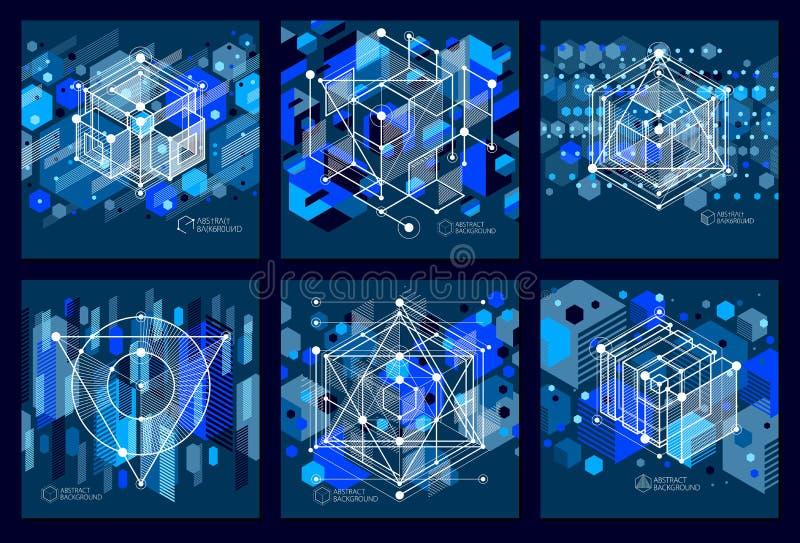 Los fondos azul marino del extracto isométrico moderno del vector fijaron con ilustración del vector