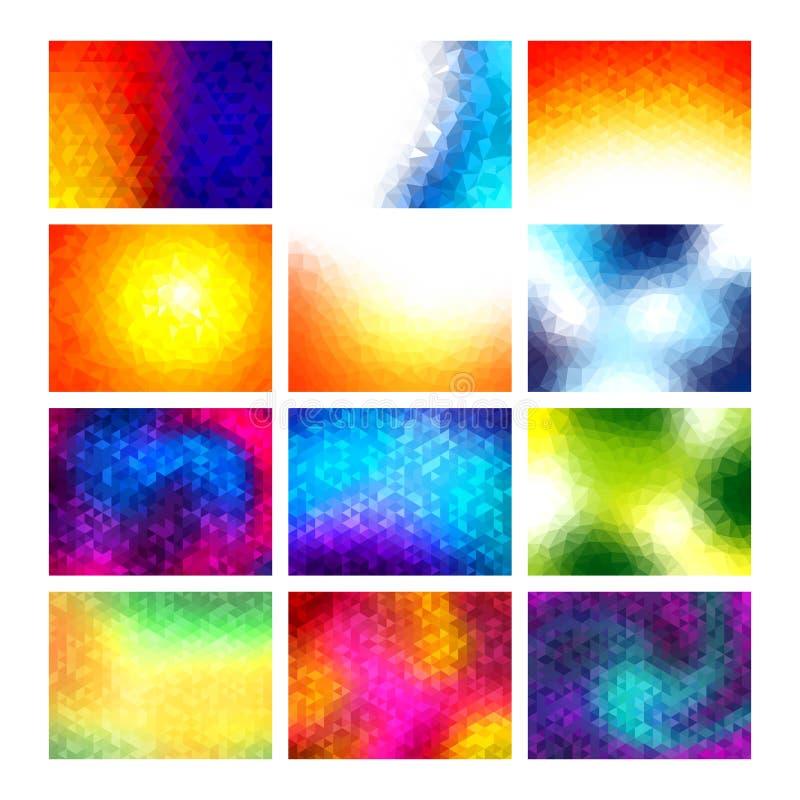 Los fondos del mosaico del vector del polígono fijaron, los modelos abstractos coloridos, ejemplo ilustración del vector