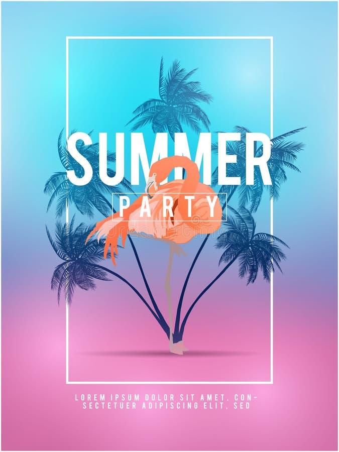 Los fondos del tumblr de California del verano fijaron con las palmas, el cielo y la puesta del sol Tarjeta de la invitación del  ilustración del vector