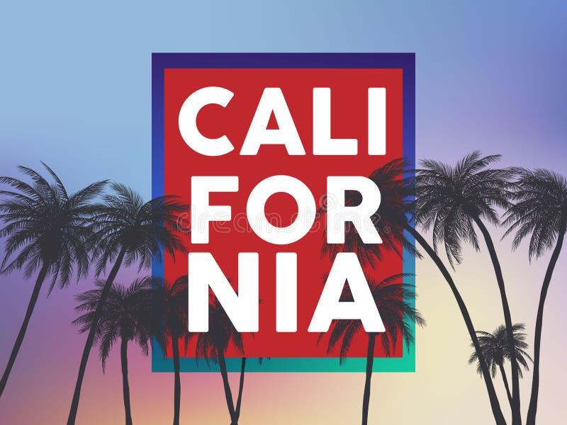 Los fondos del tumblr de California del verano fijaron con las palmas, el cielo y la puesta del sol Tarjeta de la invitación del  libre illustration